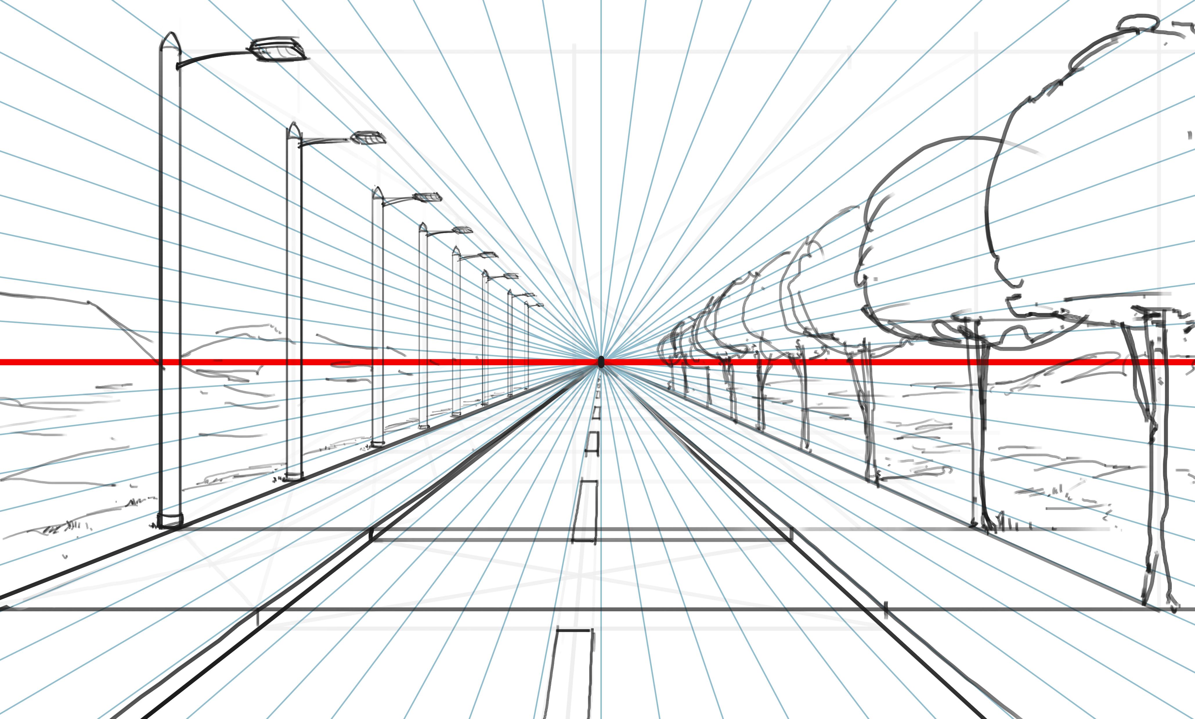 Perspective 1 point trois point moyen apprendre dessiner for Maison en perspective dessin